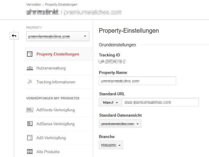 Google Analytics Property Einstellungen